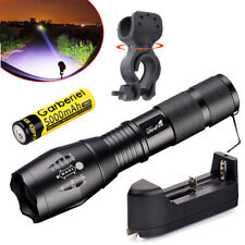 Tactical 15000LM T6 LED Zoomable 5Mode Flashlight Lamp+Battery+Charger+Bike Clip