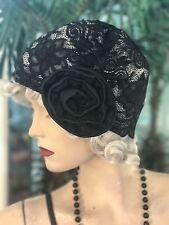 1920s HAT FLAPPER Cloche HAT LACE BLACK VINTAGE NEW HAT FLEXIBLE FIT