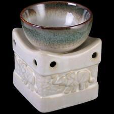 Elephant Ceramic Oil Burner  Candle Tart Wax Melt Two Tone Cream And Green