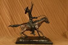 Cowboy w/ Gun Riding Horse 100% Solid Bronze Sculpture Old School Figurine Decor
