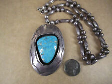 """Vtg Sterling Silver & Turquoise Pendant Beaded Necklace, Signed CJ, 24"""", 63g"""