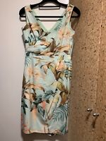 Tommy Bahama silk floral draped cross front sleeveless dress, lined, zip, size 6