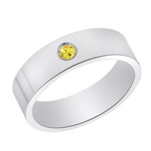 Titanium Citrine Birthstone Comfort Fit 6mm Wide Engagement Band Size 6 to 9
