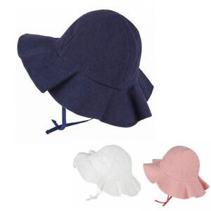 Sun Hat Baby Boys Girls Kids Summer Beach Hat Wide Brim Cap Cotton 6M-36 months