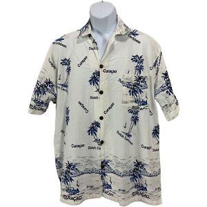 Island Expression Mens Button Down Shirt Size Large Hawaiian Casual Short Sleeve