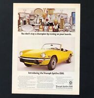 1973 Triumph Spitfire 1500 Advertisement Convertible Yellow Car Vtg Print AD