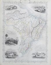 c1854 BRAZIL Genuine Antique Map by Rapkin Outline Hand Colouring