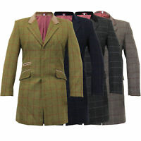 Mens Wool Mix Trench Coat Checked Jacket Herringbone Tweed Overcoat Lined Winter