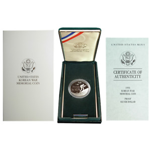 1991-P Proof $1 Silver Korean War Memorial Box OGP & COA