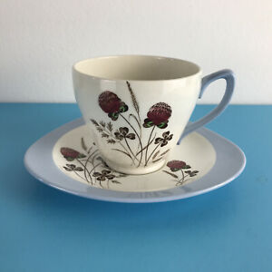 Vintage Spode Copeland England Pottery Blue Summer Days Tea Cup and Saucer