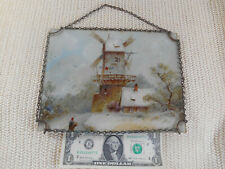 Antique Victorian Advertising Flue Cover Lithograph Windmill Snow Chain Frame