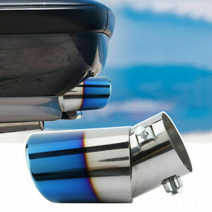 Car Exhaust Pipe Tip Tail Muffler Stainless Steel Accessories 58mm 2.3in Silver