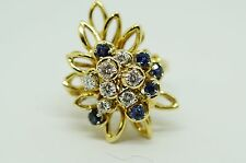 Vintage 18k yellow gold diamonds and sapphires ring.
