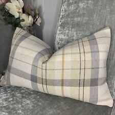 "Grey Natural Cushion Cover 12""x20"" Designer Fabric Tartan Check Country Living"