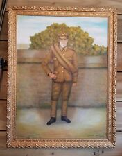 WW1 British Army Oil On Canvas Portrait Painting Of A Solider PTE Urwin MUST SEE