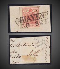 1850 AUSTRIA LOMBARDY - VENETIA RARE CHIAVENNA ON FRAGMENT 15C.RED SCT. 4 MI.3X?