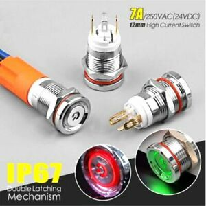 12mm mini 7A high current metal button self-recovery IP67 waterproof with light
