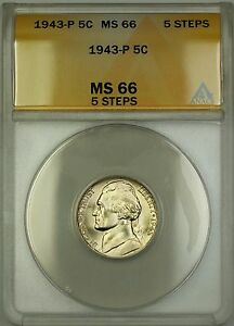 1943-P 5 Steps U.S. Wartime Silver Jefferson Nickel 5c Coin ANACS MS-66 (B)