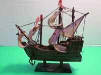 "Santa Maria 7"" Christopher Columbus Wooden Model Ship Nautical Decor Cloth Sails"