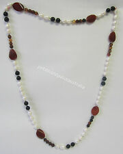 New Long Necklace Freshwater Pearls & Brown Beads & Gemstones Fashion Jewellery