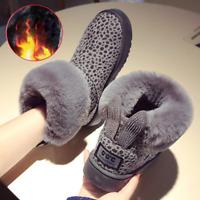 New Fashion Women's Winter Snow Ankle Shoes Fur Short Warm Flat Calf Faux Boots