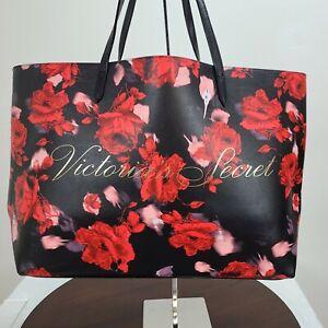 Victorias Secret Floral Rose PVC Tote Bag Red Black 2019