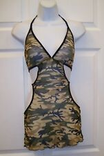 Women's Army Fatigue Print Sexy Sheer Teddies Intimate Apparel Small New