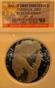 2007 Australia Koala 1 oz Fine Silver $1 Coin NGC MS 69 First Year One of 5,000