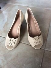 Tory Burch women's 'Sally' Peep Toe Wedge Pump Beige/Neutral size 8