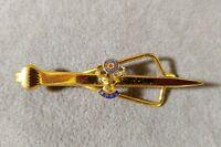 Vintage BPOE Elks Fraternal Tie Bar Clamp Gold Tone Men Jewelry