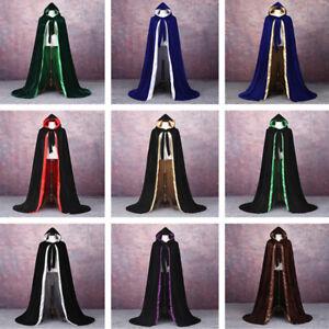 Velvet Hooded Cloak Wicca Robe Halloween Cape Witchcraft Wizard Vampire Cloak