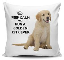 Keep Calm And Hug A Golden Retriever Cushion Cover - 40cm x 40cm Brand New
