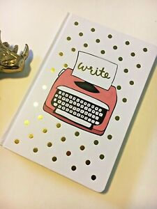 Gold Polka Dot Pink Typewriter Notebook Journal Blank & Lined Pages Hardcover