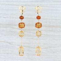 H Stern 6.14ctw Orange Citrine Diamond Sapphire Earrings 18k Yellow Gold Dangle