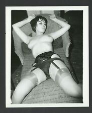 Assertive Sultry Woman 1950 Vintage Photo Long Legs Stockings Big Breasts Q971