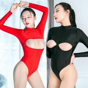 Sexy 2 Way Zipper Open Bust Long Sleeve Romper Lady Leotard Top Bodysuit Catsuit