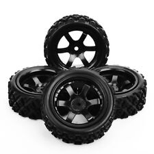 4 Pcs Rubber Tires Wheel Rim For RC 1/10 Rally Racing Off Road Car PP0072+PP0487