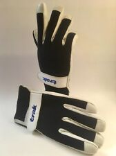 Vintage Deep Blue & White Performance Gloves Sheep Leather & Terry Cloth X Large