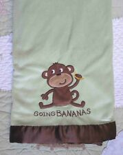 Carter's Green Polyester Plush Brown Satin Monkey Going Bananas Baby Blanket EUC