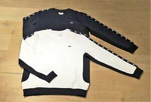 NEU LACOSTE Herren-Sweatshirt, Fleece, weiß + blau, Gr. M,L,XL,XXL UVP 100 €