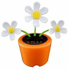 NEW CUTE Solar Powered Dancing 3 White Daisy Flowers in Orange Pot Bobble Toy!