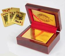 24K 52+2 Luxury Gold Foil Poker Playing Cards Deck / Nice Wood Box US / EUR
