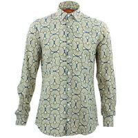 Mens Shirt Loud Originals TAILORED FIT Shell Blue Retro Psychedelic Fancy