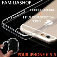 Housse étui pochette coque transparent gel silicone iphone 6 plus + 1 FILM ECRAN