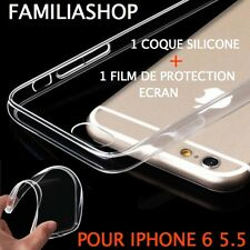 Housse étui pochette coque transparent gel silicone iphone 6 5.5 + 1 film
