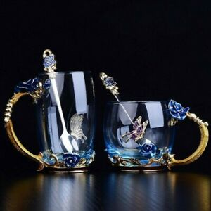 Blue Rose Colour Enamel Crystal Flower Designed Glass Tea Coffee Cup for Lovers.