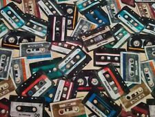 Fabric for Sewing Crafts Quilt Mask SCRAP CASSETTE TAPES MUSIC  9x21 Cotton