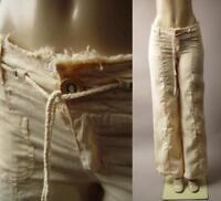 Cream Drawstring Tie Waist Lagenlook Sailor Nautical Cargo 263 mv Pants S M L