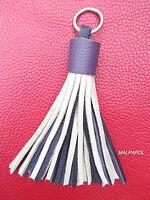 Porte-Cles / Key Ring / Porta Chiavi Pompon 100 % Cuir Leather GRIS VIOLET !