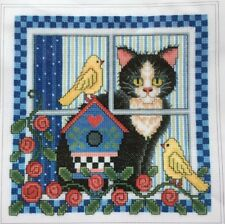 The Design Connection's Birdwatching with Sammy The Cat Cross Stitch Kit